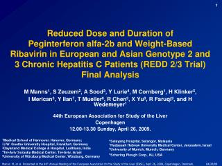Reduced Dose and Duration of  Peginterferon alfa-2b and Weight-Based Ribavirin in European and Asian Genotype 2 and 3 Ch