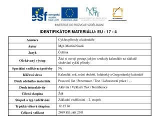 IDENTIFIKÁTOR MATERIÁLU: EU - 17 - 4