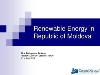 R enewable  E nergy in  Republic of  Moldova