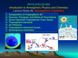 Composition of Tropospheric Air Sources, Transport, and Sinks of Trace Gases