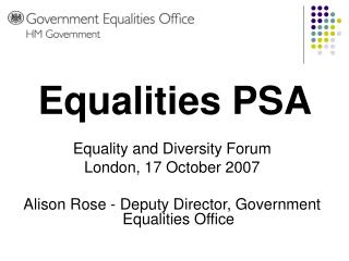 Equality and Diversity Forum London, 17 October 2007