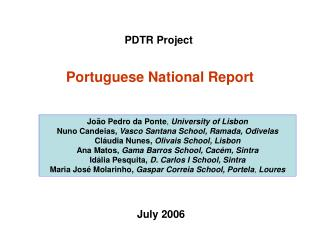 Portuguese National Report