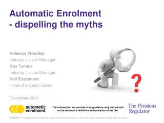 Automatic Enrolment  - dispelling the myths