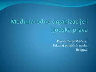 M e?unarodne organizacije i ljudska prava