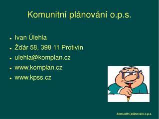 Komunitní plánování o.p.s.