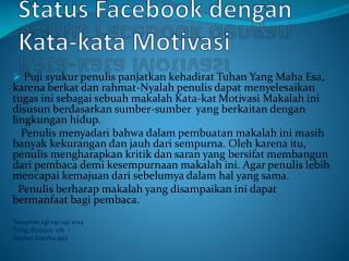 Status Facebook dengan Kata-kata Motivasi