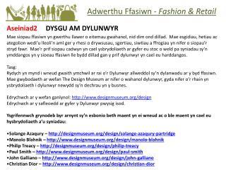 Aseiniad2      DYSGU AM DYLUNWYR