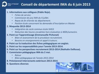Conseil de département IMA du  6 juin 2013