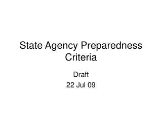 State Agency Preparedness Criteria