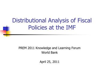 Distributional Analysis of Fiscal Policies at the IMF