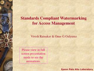 Standards Compliant Watermarking for Access Management
