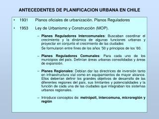 ANTECEDENTES DE PLANIFICACION URBANA EN CHILE
