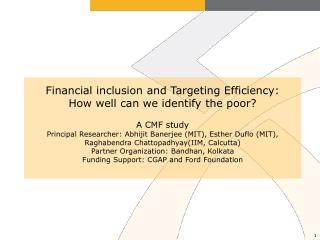 How to include the poorest of the poor into microfinance?