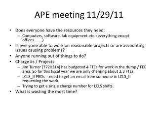 APE meeting 11/29/11