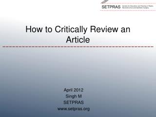 How to Critically Review an Article