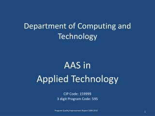 Department of Computing and Technology