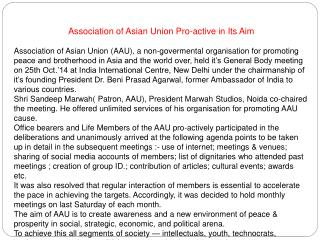 Association of Asian Union Pro-active in Its Aim