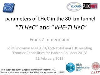 parameters  of  LHeC  in the 80-km tunnel