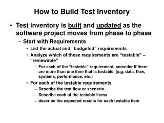 How to Build Test Inventory