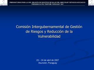 Comisión Intergubernamental de Gestión de Riesgos y Reducción de la Vulnerabilidad