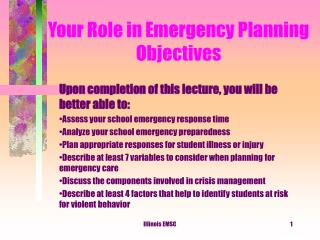 Your Role in Emergency Planning Objectives