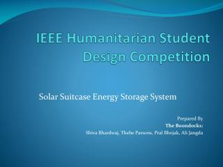 IEEE  Humanitarian Student Design  Competition