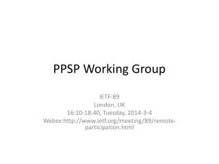 PPSP Working Group