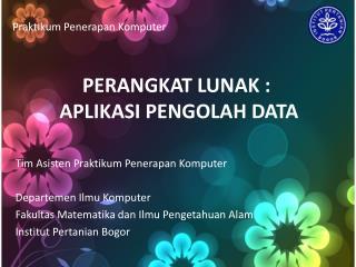 PERANGKAT LUNAK :  APLIKASI PENGOLAH DATA