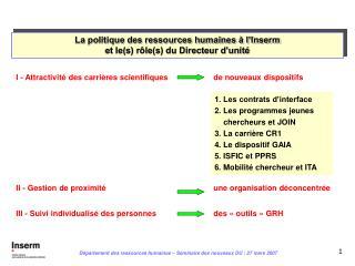 La politique des ressources humaines à l'Inserm et le(s) rôle(s) du Directeur d'unité