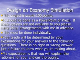 Design an Economy Simulation