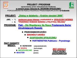 PROJEKT i PROGRAM  opracowany przez mieszkańców Krakowa