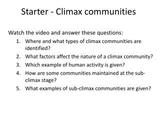 Starter - Climax communities