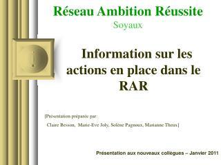 Réseau Ambition Réussite Soyaux