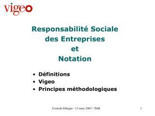 Responsabilité Sociale des Entreprises et Notation