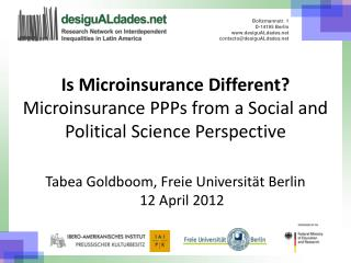 Is Microinsurance Different? Microinsurance PPPs from a Social and Political Science Perspective