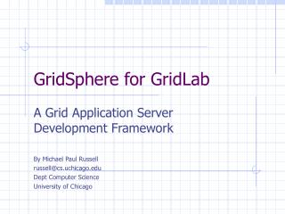 GridSphere for GridLab