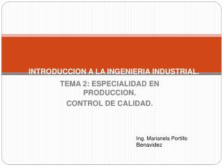INTRODUCCION A LA INGENIERIA INDUSTRIAL.