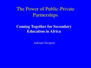 The Power of Public-Private Partnerships
