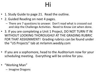 1. Study Guide to page 21.  Read the outline. 2. Guided Reading on next 4 pages.