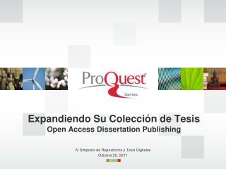 Expandiendo Su Colección de Tesis Open Access Dissertation Publishing
