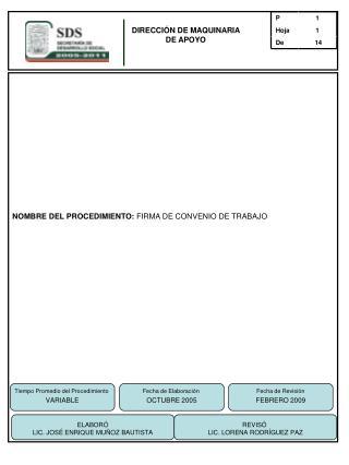 NOMBRE DEL PROCEDIMIENTO:  FIRMA DE CONVENIO DE TRABAJO
