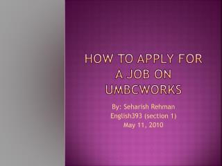 How to apply for a job on  umbcworks