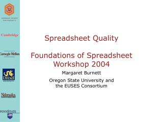 Spreadsheet Quality Foundations of Spreadsheet Workshop 2004