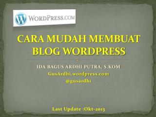 CARA MUDAH MEMBUAT BLOG WORDPRESS