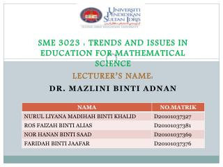 SME 3023 : TRENDS AND ISSUES IN EDUCATION FOR MATHEMATICAL SCIENCE LECTURER'S NAME: