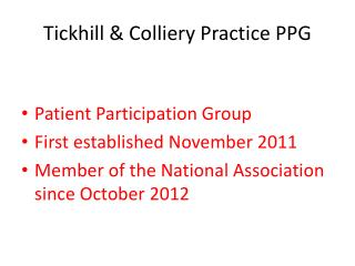 Tickhill & Colliery Practice PPG