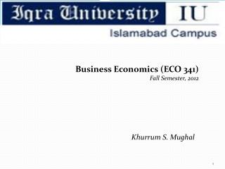 Business Economics (ECO 341) Fall Semester, 2012