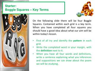 Starter: Boggle Squares – Key Terms