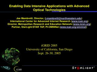 Enabling Data Intensive Applications with Advanced Optical Technologies