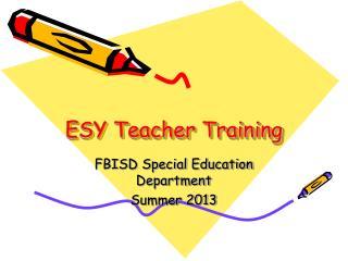 ESY Teacher Training